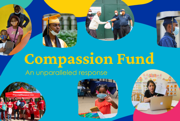 "abstract illustration colorful shapes and text reading: ""Compassion Fund: An unprecedented year; an unparalleled response with a collage of pictures showing students, teachers, and community members engaged in COVID-19 relief efforts"